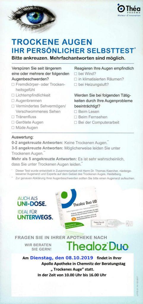 """Beratungstag """"Trockenes Auge"""" am 08.10.19"""