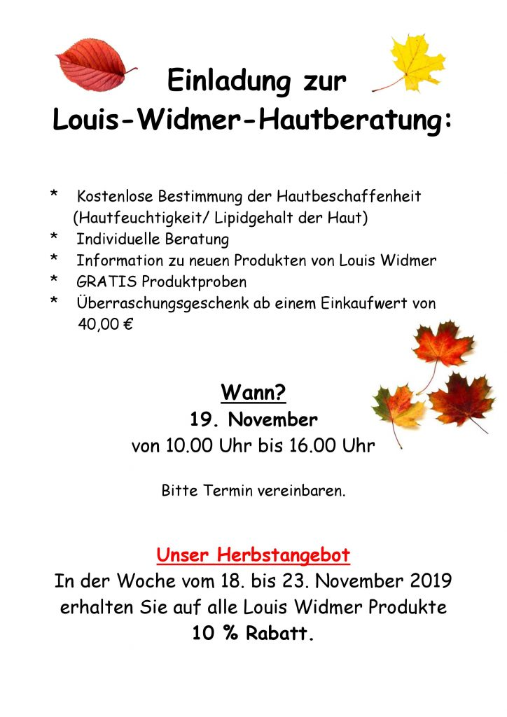 Widmer Hautberatungstag am 19. November 2019