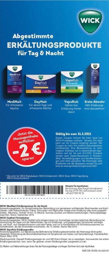 2 Euro Sofortrabbat für ausgewählte Wick-Produkte